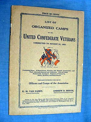 List of Organized Camp of the Confederate Veterans Booklet 1921