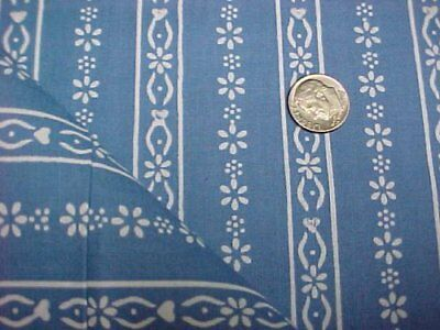 Vintage Antique Cotton Quilt Doll Fabric Cadet Blue Print Material Sew 1930s