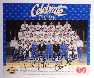 ESZ7669. NHL BUFFALO SABRES Perry's Ice Cream SIGNED TEAM PHOTO Puppa & More >