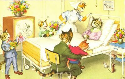 Vintage ALMA Comic Postcard 4931 Cats in Hospital Mainzer Mint USA