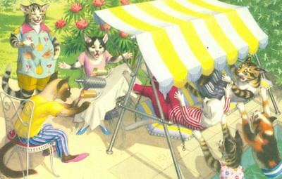 Vintage ALMA Comic Postcard 4889 Cats at Pool Party Mainzer Mint USA