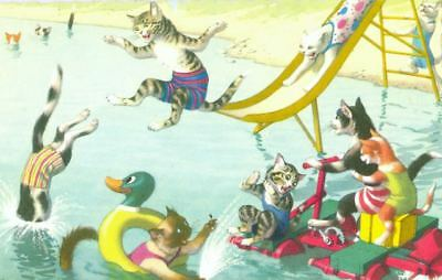 Vintage ALMA Comic Postcard 4888 Cats at the Beach Mainzer Mint USA
