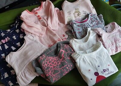 Job lot bundle baby girls clothes dresses tops 0-3 months short & long sleeve L1