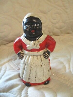 "Mini Cast Iron Aunt Jemima Black Americana Coin Bank 3"" White Bandana"