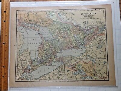 1897 Color Map of Ontario. 10 5/8 x 13 3/4 inches. Mathews-Northrup Company.