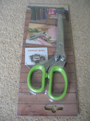 Herb Scissors 5 blade Kitchen Tool Shears metal with green handles NEW