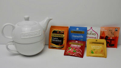 Lovely Twinings Tea For One Set Teapot + Cup (Classic White Ceramic) Tea *new*