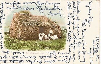 Hawaiian Native Grass Hut Postcard 1902