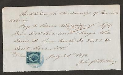 19th Century Bank  Check / Receipt (1876 ) with US Revenue Stamp Scott # R152