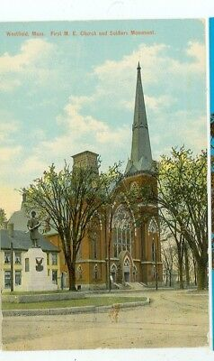 Westfield,massachusetts-First Me Church & Soldiers Monument-Pre1920-(Mass-W)