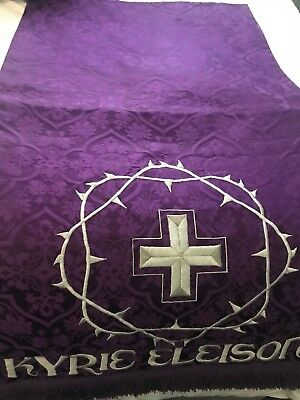 Vintage Catholic Church Altar Purple Brocade Pulpit Fall Kyrie Eleison Crown