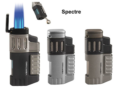 "Vertigo ""Spectre"" Butane Lighter, Chrome, Quad Torch Flame, Cigar Punch"