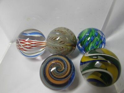 Lot of 5 Illegible Signed Colorful Art Glass Large Marbles Swirls Twists 1.5""