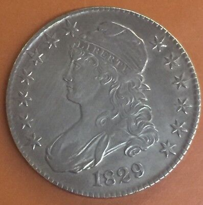 1829 Capped Bust Silver Half Dollar AU Details US Coin - TCC