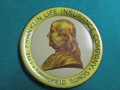 Antique Advertising Early 1900 Tip Tray. Franklin Life Insurance. Springfield Il