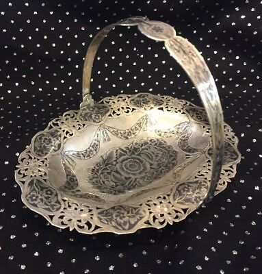 Antique RUSSIAN  Handmade STERLING SILVER  basket NIELLO floral design