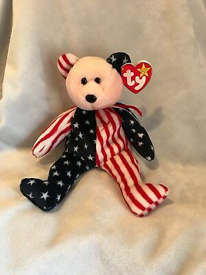 Spangle Ty Beanie Baby-1999 ****RARE**** Pink face bear with ****ERRORS****