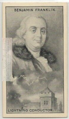 Ben Franklin Inventor Expirement Lighteniing  Electricity 90+ Y/O Trade Ad Card