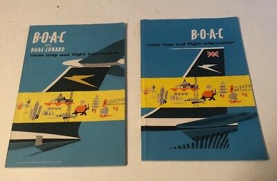2 BOAC Airlines Route Map And Flight Info Booklets 1960s