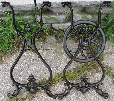 "FANCY PAIR CAST IRON INDUSTRIAL LEGS  ANTIQUE MACHINE AGE TABLE BASE  28"" high"