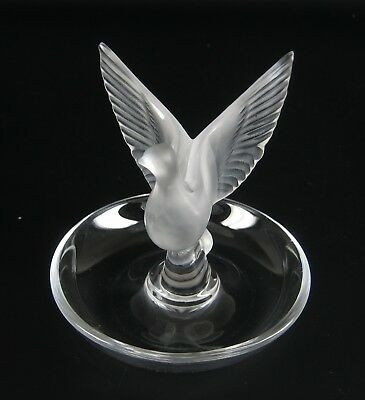 Lalique Glas Schale signiert VOGEL France Glass Bowl Crystal signed Bird