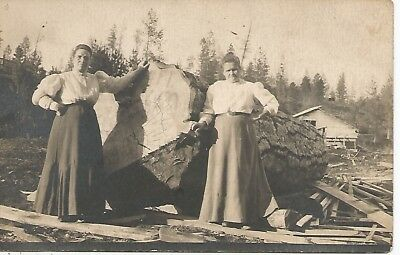 Two Women & Giant Log At Troy Idaho Real Photo Postcard c1910