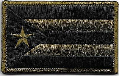 Puerto Rico Woodland Dark Green Black Flag Patch Iron on Sew on