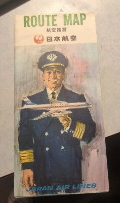 Vintage Japan Airlines Route Map Plus Post Card