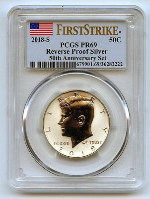 2018 S 50C Silver Reverse Proof Kennedy Half Dollar PCGS PR69 First Strike