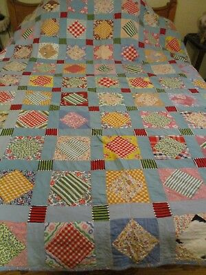 Handmade Feed Flour Sack Vintage PATCHWORK QUILT 56 X 78""