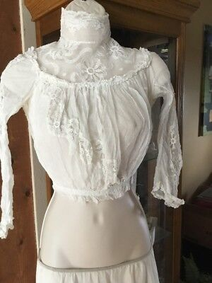 Antique Edwardian Victorian  Lace Cotton Lawn Blouse Bodice XS