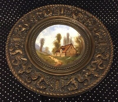 "Antique Hand-painted scene porcelain 12"" charger brass frame w/ French griffins"