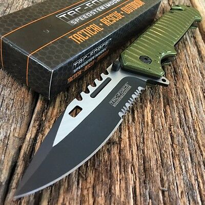 TAC FORCE Spring Assisted Open Green SAWBACK BOWIE Tactical Rescue Pocket Knife.