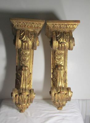 Pair of Antique Hand Carved Wood Corbels Mantle brackets Made in Italy