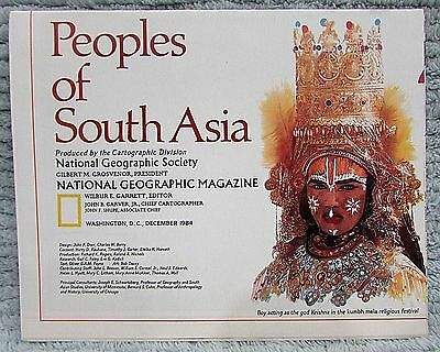 Old 1984 National Geographic Vintage Map Peoples of South Asia FREE S/H
