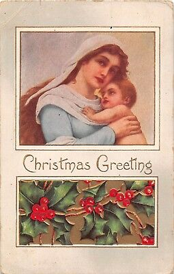 Beautiful Madonna With Christ Child Above Holly - Old Christmas Postcard