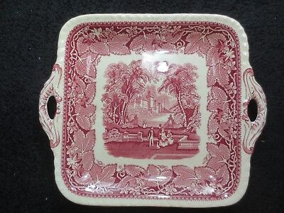 Mason's Vista England Plate With  Handles, red/white
