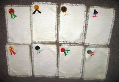 8 Vintage Linen Tea Towel Placemats Napkins w/ Straw Hat Add Ons ITALY