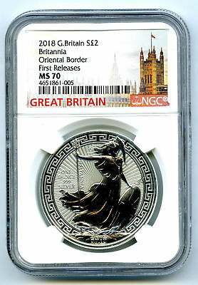 2018 Great Britain 1Oz Silver Britannia Oriental Border Ngc Ms70 First Releases