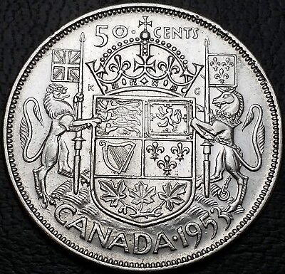 1953 Canada 50 Cents Silver Half Dollar **No Shoulder Fold, Large Date Variety**