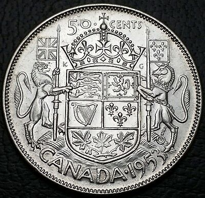 1953 Canada 50 Cents Silver Half Dollar - No Shoulder Fold, Large Date Variety