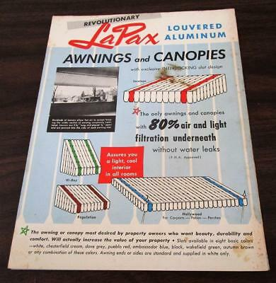 Vintage 1950's Beauty Shade LaPax Aluminum Awnings & Canopies Dealer Catalog L