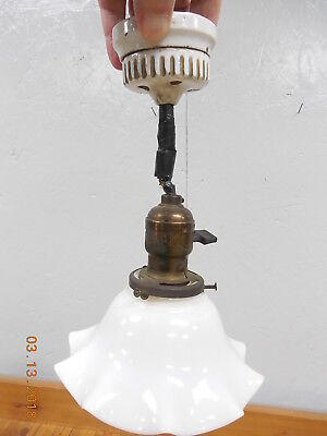 Vintage Brass Pendant Hanging Light Fixture Milk Glass Shade  @
