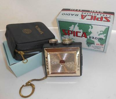 tested! new in box w/ case! c1965 SPICA RADIO 7 transistor MODEL ST 711 keychain