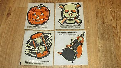 Lot Of 4 Vintage Halloween Iron Ons, For T-Shirts, Pumpkin, Witch, Skull & Bones