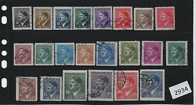 Complete 1942 stamp set  / Adolph Hitler / Stamps are used  / German Occupation