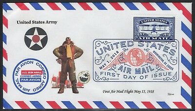 U.s. Air Mail Flight Centennial 1918 - 2018 First Day Cover - Army Delivery
