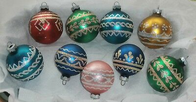 Lot of 9 Vintage Christmas Shiny Brite Glass Ornaments Glitter Stencils