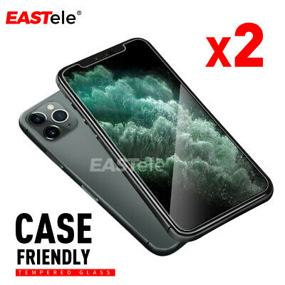 2x Genuine EASTele® Tempered Glass Screen Protector Apple iPhone 11 Pro XS Max