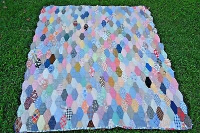 Antique SOUTHERN Hand Made Pieced Diamond Quilt Great Condition Feed Sack   NR
